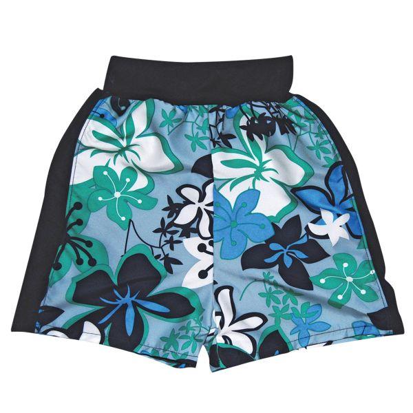 Board Shorts Green Hibiscus Boys Swimming Shorts