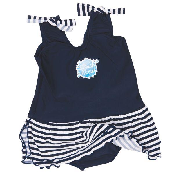 Swimming Costume with Skirt Navy & White