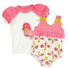 Kayla La Ruffle Swimming Costume and Short Sleeve Rash Top Bundle