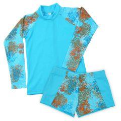 Lion Fish Aqua Shorts and Long Sleeve Rash Top Bundle