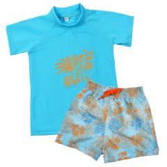 Lion Fish Pattern Board Shorts and Short Sleeve Rash Top Bundle