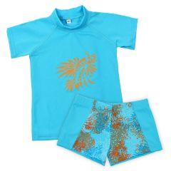 Lion Fish Aqua Shorts and Short Sleeve Rash Top Bundle