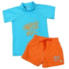 Lion Fish Orange Board Shorts and Short Sleeve Rash Top Bundle