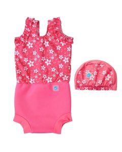 Happy Nappy Costume and Swim Hat Bundle Pink Blossom