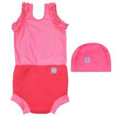 Happy Nappy Costume and Swim Hat Bundle Pink Geranium