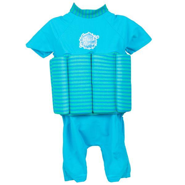UV Sun Protection Float Suit Turquoise Blue Lagoon Stripe