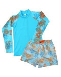 Lion Fish Pattern Board Shorts and Long Sleeve Rash Top Bundle